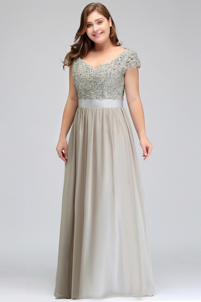 HOLLAND | A-Line Scoop Floor Length Cap Sleeves Appliques Silver Plus Size Evening Dresses with Sash_12