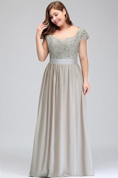 HOLLAND | A-Line Scoop Floor Length Cap Sleeves Appliques Silver Plus Size Evening Dresses with Sash_11