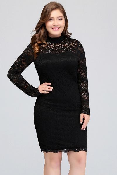 JANE | Mermaid Crew Short Plus size Long Sleeves Lace Black Cocktail Dresses_4