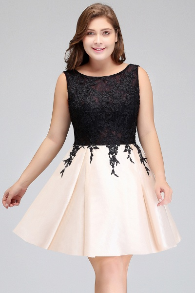 ISABELLA | A-Line Scoop Short Sleeveless Plus size Cocktail Dresses with Appliques_10
