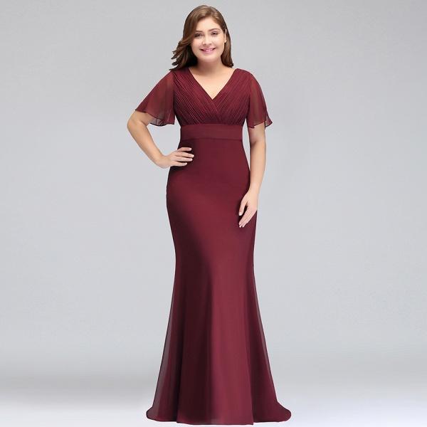 JAYDE | Mermaid V-neck Floor Length Short Sleeves Plus size Burgundy Evening Dresses with Sash_6
