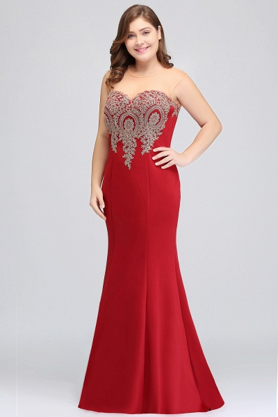INGRID   Mermaid Crew Illusion Plus size Long Sleeveless Burgundy Formal Dresses with Appliques_19