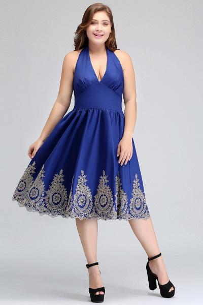 IZABELLA | A-Line V-neck Halter Plus size Tea Length Cocktail Dresses with Appliques_6