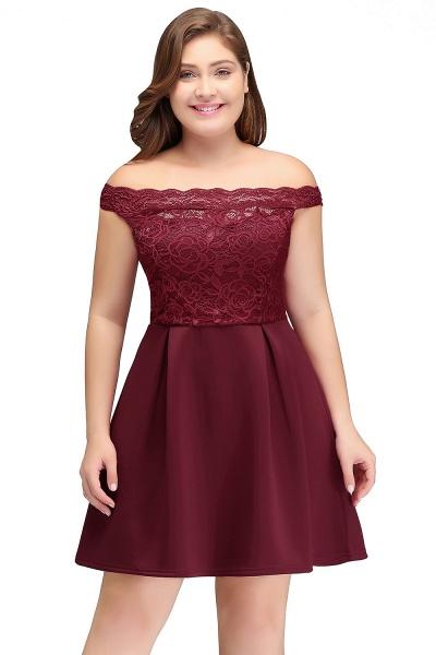 JAYCEE | A-Line Off-Shoulder Short Lace Chiffon Plus size Lace Burgundy Cocktail Dresses_1