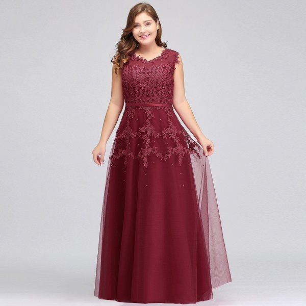 IRENE | A-Line Crew Floor Length Sleeveless Plus size Tulle Appliqued Evening Dresses with Crystals_8