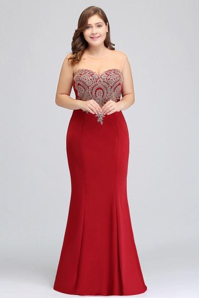 INGRID   Mermaid Crew Illusion Plus size Long Sleeveless Burgundy Formal Dresses with Appliques_14