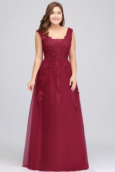 IRIS | A-Line Bateau Long Plus size Sleeveless Evening Dresses with Appliques_11