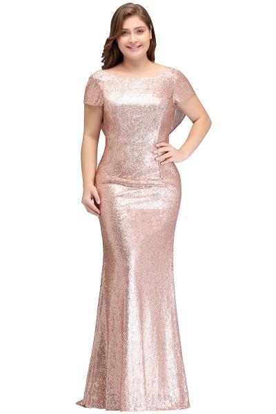 ISABEL | Mermaid Bateau Short sleeves Plus size Floor Length Sequins Formal Dresses_1