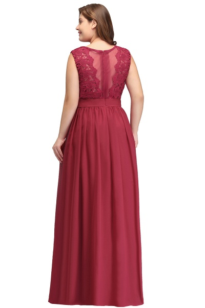 ITZEL | A-Line Crew Long Plus size Sleeveless Lace Chiffon Evening Dresses with Sash_3