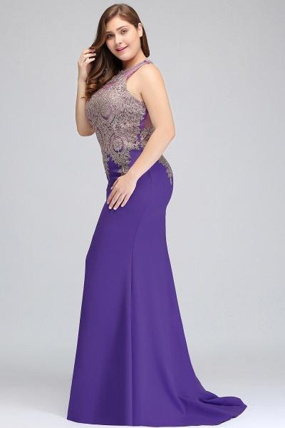 IVORY | Mermaid Crew Floor Length Sleeveless Plus size Evening Dresses with Appliques_6