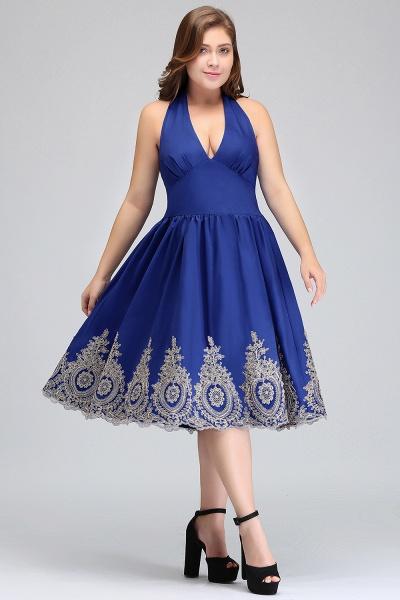 IZABELLA | A-Line V-neck Halter Plus size Tea Length Cocktail Dresses with Appliques_9