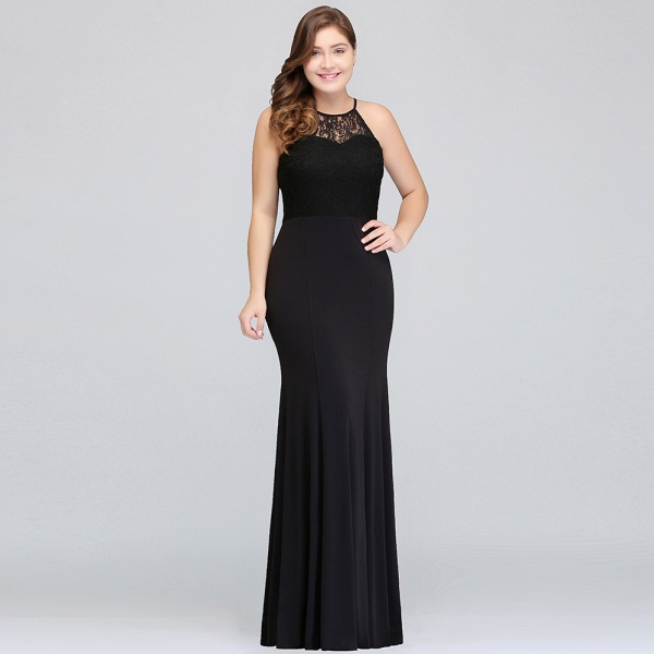 JAELYNN | Mermaid Halter Floor Length Plus size Black Evening Dresses with Lace_9