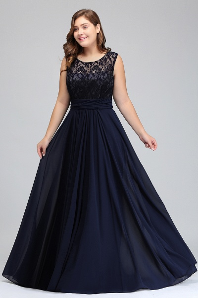 IVY | A-Line Crew Long Plus size Sleeveless Dark Navy Formal Dresses with Lace_10