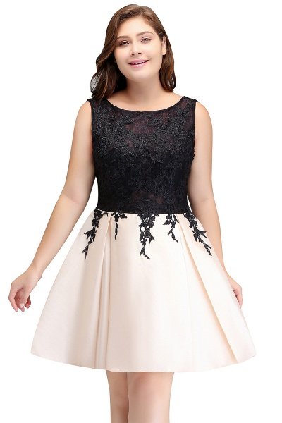 ISABELLA | A-Line Scoop Short Sleeveless Plus size Cocktail Dresses with Appliques_1