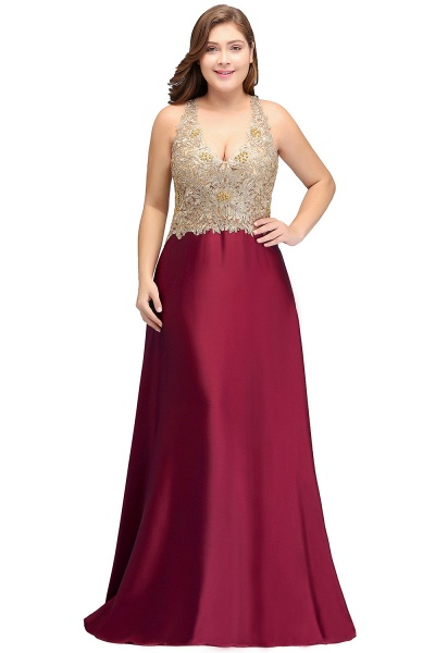 ISABELA | A-Line V-neck Plus size Long Sleeveless Evening Dresses with Appliques_1