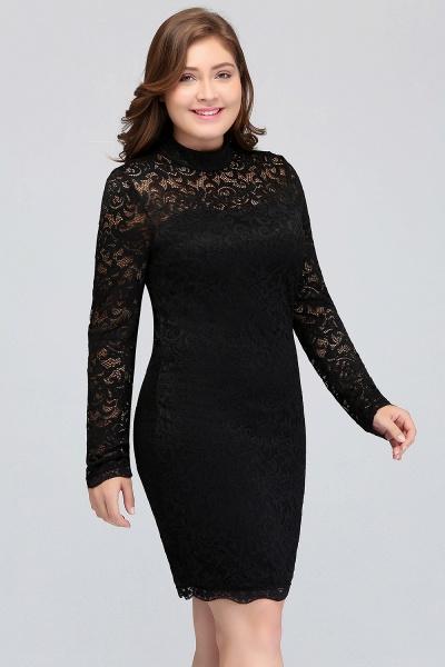 JANE | Mermaid Crew Short Plus size Long Sleeves Lace Black Cocktail Dresses_7
