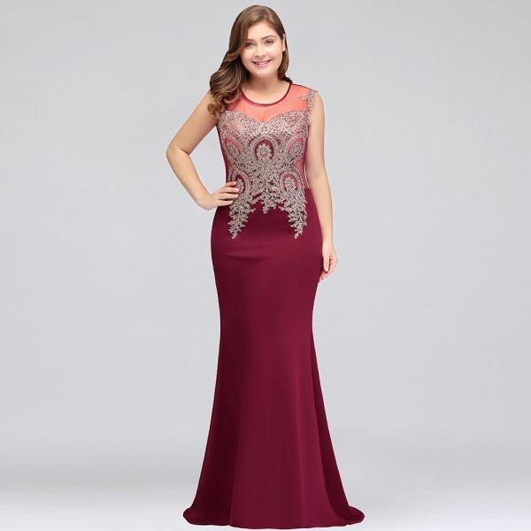 HUNTER   Mermaid Scoop Floor Length Plus size Sleeveless Appliques Burgundy Evening Dresses_8