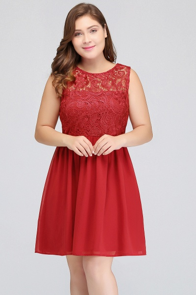 HENLEY | A-Line Crew Short Sleeveless Lace Chiffon Red Cocktail Dresses_4