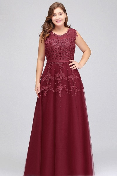 IRENE | A-Line Crew Floor Length Sleeveless Plus size Tulle Appliqued Evening Dresses with Crystals_4