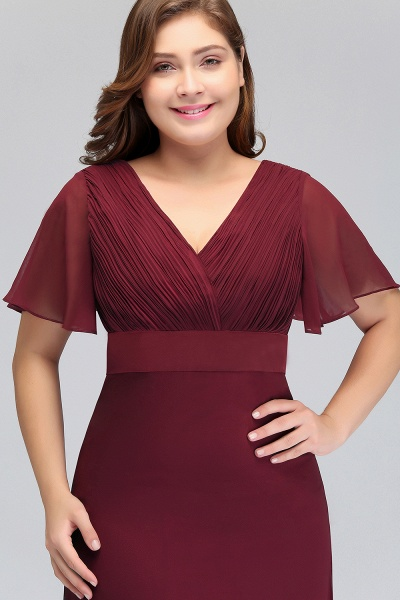 JAYDE | Mermaid V-neck Floor Length Short Sleeves Plus size Burgundy Evening Dresses with Sash_4