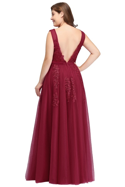 IRIS | A-Line Bateau Long Plus size Sleeveless Evening Dresses with Appliques_3