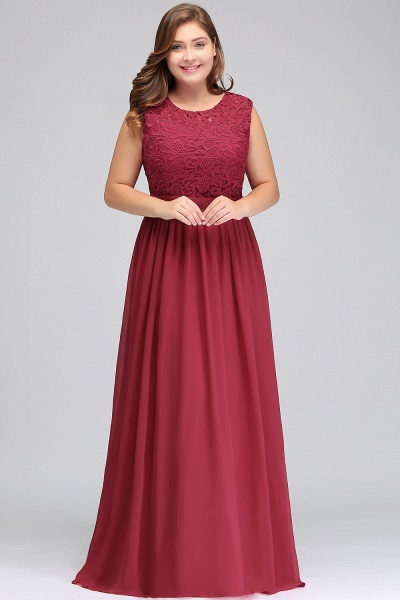 ITZEL | A-Line Crew Long Plus size Sleeveless Lace Chiffon Evening Dresses with Sash_4