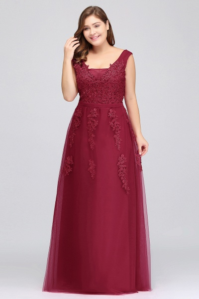 IRIS | A-Line Bateau Long Plus size Sleeveless Evening Dresses with Appliques_7