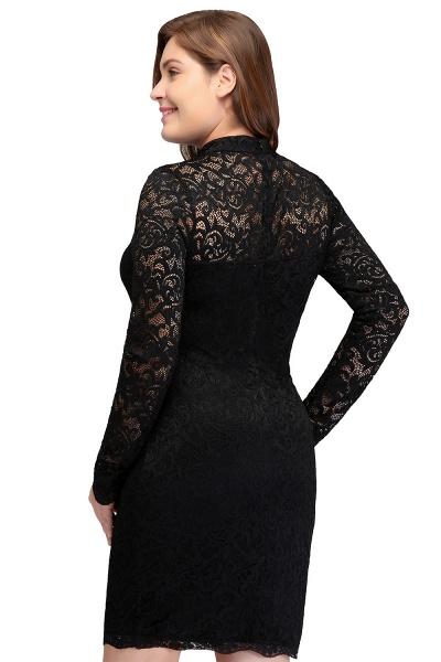 JANE | Mermaid Crew Short Plus size Long Sleeves Lace Black Cocktail Dresses_3
