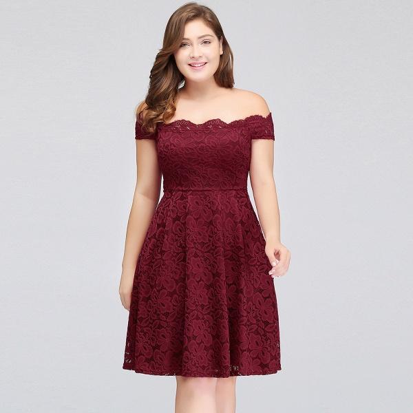 JANIYA | A-Line Off-Shoulder Knee Length Plus size Lace Burgundy Cocktail Dresses_11