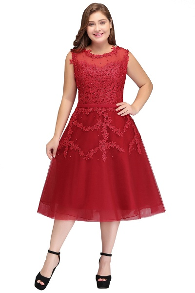 IRELAND   A-Line Crew Tea Length Plus size Sleeveless Tulle Burgundy Cocktail Dresses with Appliques_6