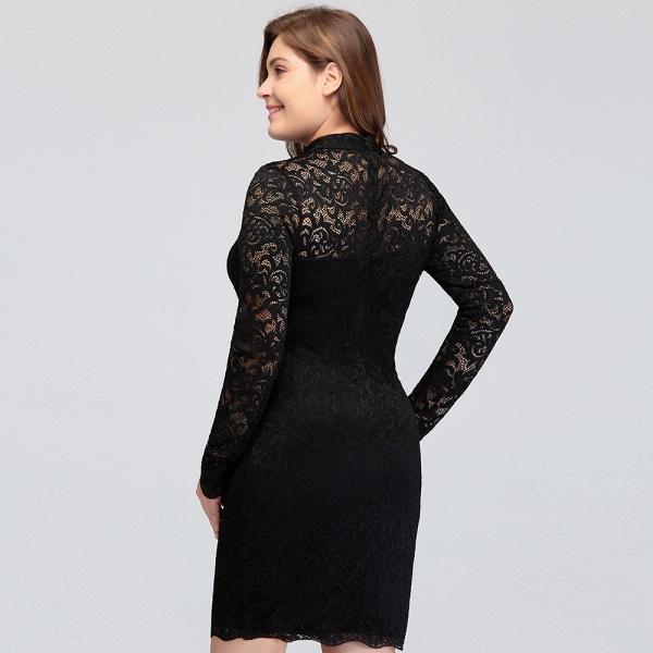 JANE | Mermaid Crew Short Plus size Long Sleeves Lace Black Cocktail Dresses_12