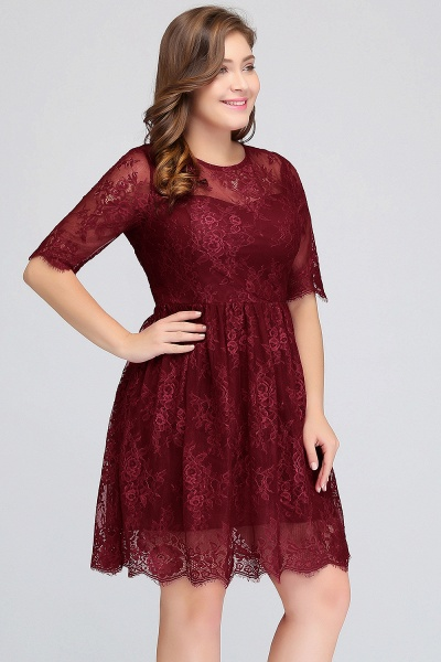 JASMINE | A-Line Crew Plus size Half Sleeves Short Lace Burgundy Cocktail Dresses_5