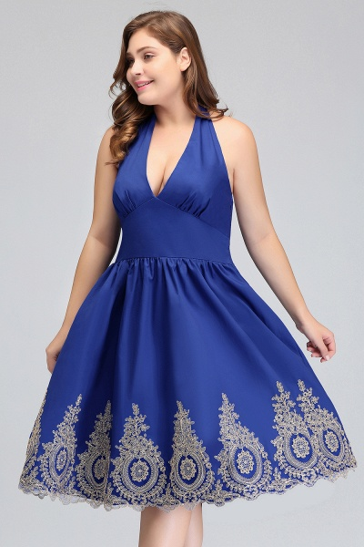 IZABELLA | A-Line V-neck Halter Plus size Tea Length Cocktail Dresses with Appliques_7