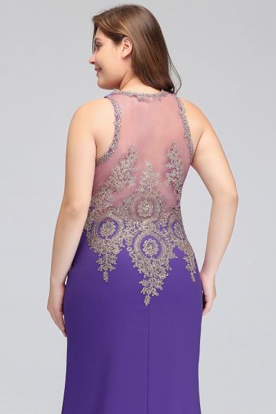 IVORY | Mermaid Crew Floor Length Sleeveless Plus size Evening Dresses with Appliques_11