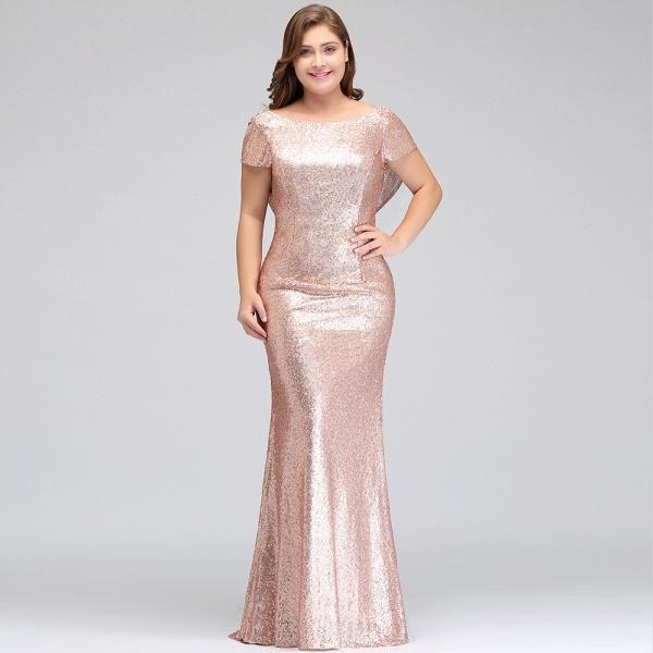 ISABEL | Mermaid Bateau Short sleeves Plus size Floor Length Sequins Formal Dresses_9