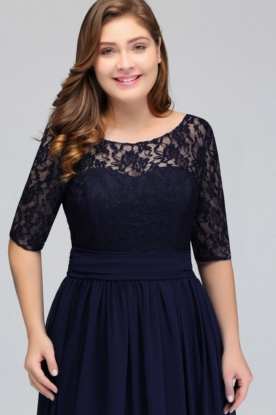 Short Sleeves Lace A-line Floor Length Bridesmaid Dress_7