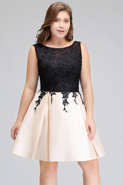 ISABELLA | A-Line Scoop Short Sleeveless Plus size Cocktail Dresses with Appliques_5