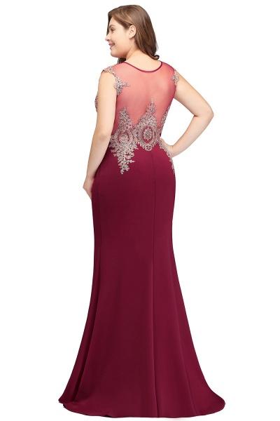 HUNTER   Mermaid Scoop Floor Length Plus size Sleeveless Appliques Burgundy Evening Dresses_7
