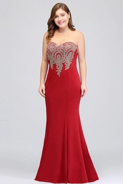 INGRID   Mermaid Crew Illusion Plus size Long Sleeveless Burgundy Formal Dresses with Appliques_16