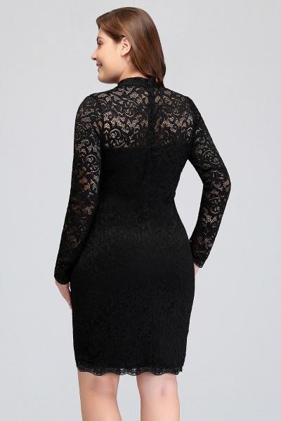 JANE | Mermaid Crew Short Plus size Long Sleeves Lace Black Cocktail Dresses_10