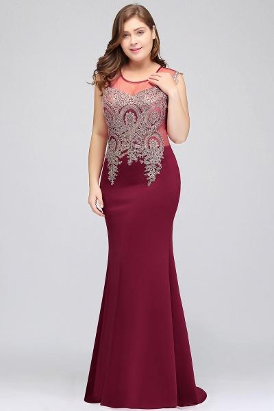 HUNTER   Mermaid Scoop Floor Length Plus size Sleeveless Appliques Burgundy Evening Dresses_5