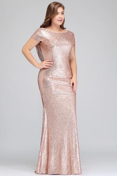 ISABEL | Mermaid Bateau Short sleeves Plus size Floor Length Sequins Formal Dresses_4