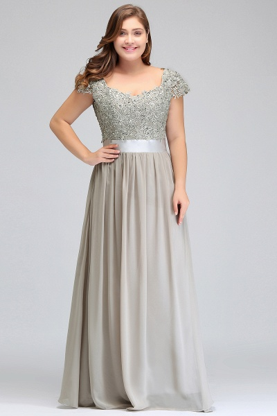 HOLLAND | A-Line Scoop Floor Length Cap Sleeves Appliques Silver Plus Size Evening Dresses with Sash_9