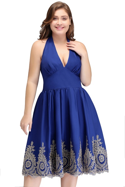 IZABELLA | A-Line V-neck Halter Plus size Tea Length Cocktail Dresses with Appliques_1