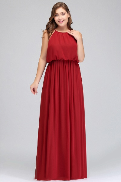 JAIDA   A-Line Straps Floor Length Sleeveless Plus size Evening Dresses with Ruffles_8