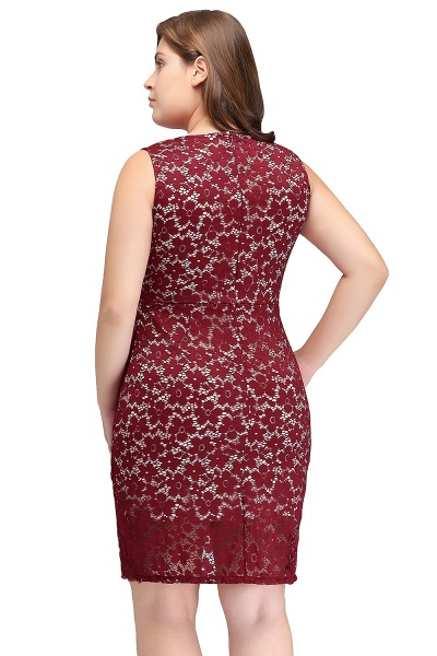 JANIYAH | Mermaid Scoop Short Sleeveless Plus size Lace Cocktail Dresses_3