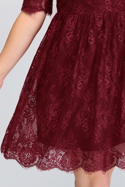 JASMINE | A-Line Crew Plus size Half Sleeves Short Lace Burgundy Cocktail Dresses_8