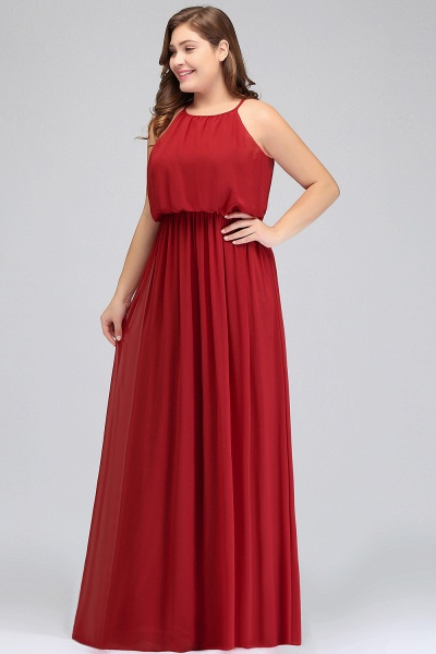 JAIDA   A-Line Straps Floor Length Sleeveless Plus size Evening Dresses with Ruffles_4