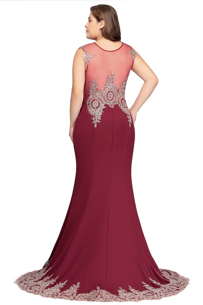 HOPE | Mermaid Appliques Crew Floor Length Sleeveless Burgundy Plus Size Evening Dresses_3