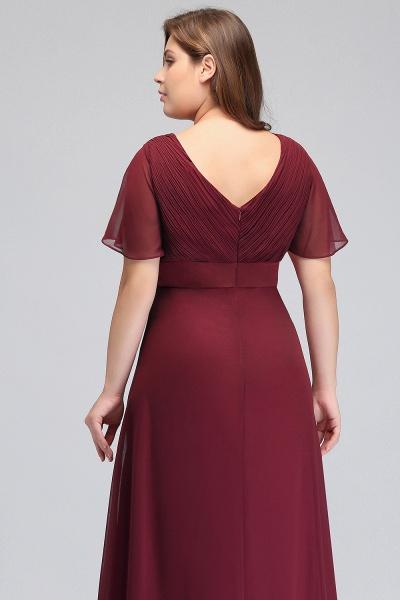 JAYDE | Mermaid V-neck Floor Length Short Sleeves Plus size Burgundy Evening Dresses with Sash_7